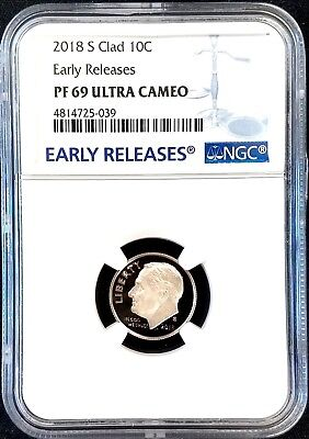 2018 S Proof Clad Roosevelt Dime, NGC Early Releases, PF 69 Ultra Cameo!