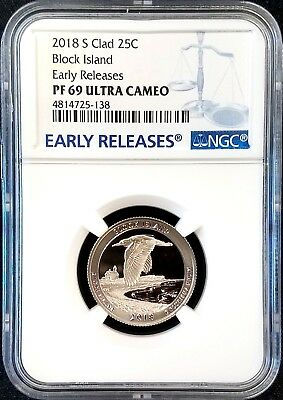 2018 S Proof Clad Block Island Quarter, NGC Early Releases, PF 69 Ultra Cameo!