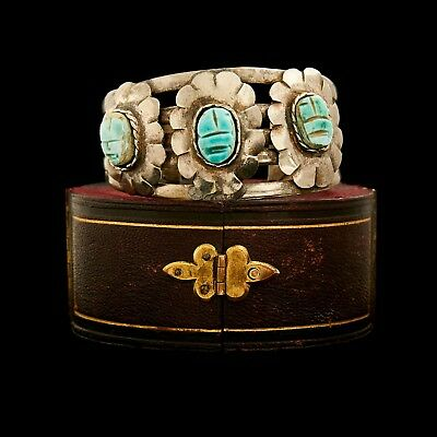 Antique Vintage Art Nouveau Sterling Silver Plated Egyptian Scarab Cuff Bracelet