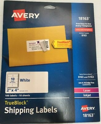 avery 18163 shipping labels laser inkjet printers 100 2x4 labels