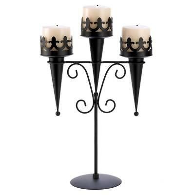 "Medieval Gothic Triple Pillar Candle Holder Stand 15.8"" Black Iron 14114"