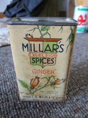 "Very Old ""MILLAR'S SPICES"" 2oz TIN....GINGER"