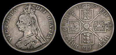 1889 Great Britain Double Florin KM#763 aVF 6299
