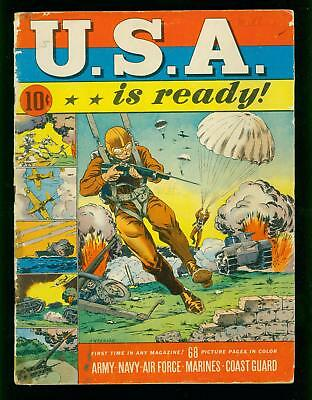 Usa Is Ready #1 1941- Dell War Comic - Parachute Cover- Good