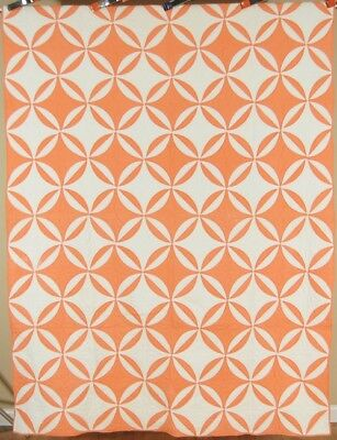 GRAPHIC Vintage 30's Peach Orange & White Rob Peter to Pay Paul Antique Quilt!