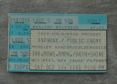 ANTHRAX W/ PUBLIC ENEMY OCT 19 1991 IRVINE MEADOWS TICKET STUB Free Shipping