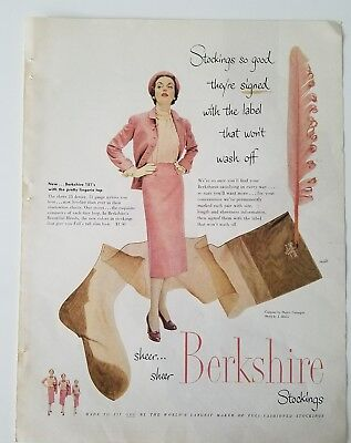 1950 womens Berkshire 151s stockings Hosiery with pretty lingerie top vintage ad