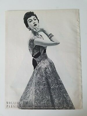 1954 women's MOLLIE PARNIS silk satin dress Dovima model ad