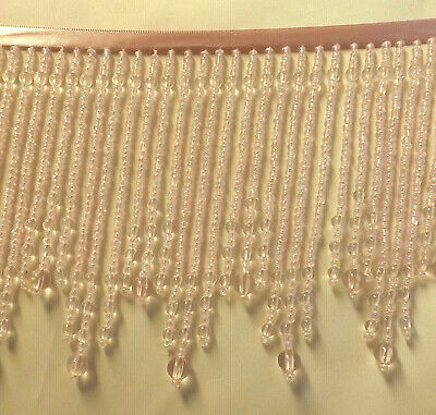 """Beautiful Crystal and a Bright Pink 2 1//2/""""  beaded fringe trim #233"""