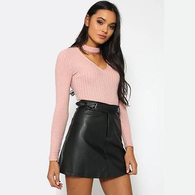 2018 Women's Faux Leather Party High Waist Bodycon Side Slit Pencil Mini Skirts