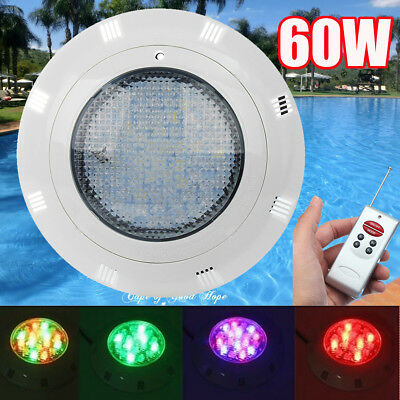 12V 60W 7 Colors Underwater Swimming Pool LED RGB Bright Light W/ Remote Control