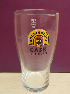 Manchester's gold Pint beer glass Crown marked Rare New Boddingtons