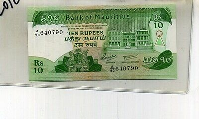 Mauritius  1985 10 Rupees Currency Note Choice Cu 2012C
