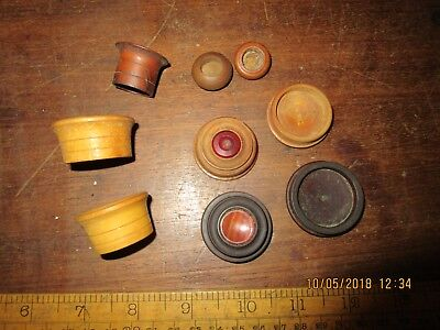 Antique Treen and Cornelian stone Watchmakers oiler / oil well .Old Watch tools