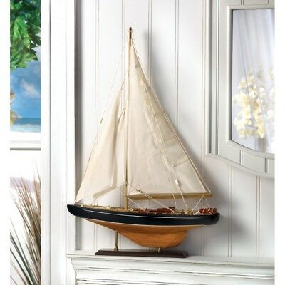 Bermuda Tall Ship Model Wood & Canvas Nautical Decor 24 in. High
