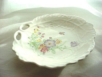 Vtg Floral Butterfly Soap Dish Re Purpose 6 inch Porcelain