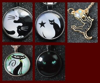 Cat Pendant Necklace on silver colour chain statement jewellery kitten round new