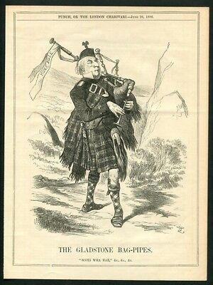 1886 Antique Print of Bagpipes Bag Pipes Bagpiping Political Cartoon from Punch