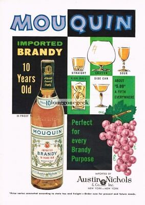 1960 MOUQUIN 10 Year Old Brandy Grapes Art Vtg Print Ad