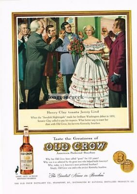1960 OLD CROW Bourbon Whiskey Henry Clay Toasts Jenny Lind art Vtg Print Ad