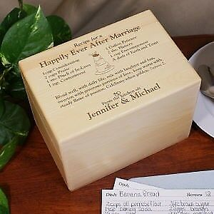 Personalized Wedding Recipe Box Couples Wood Recipe Box Engraved Wedding Gift