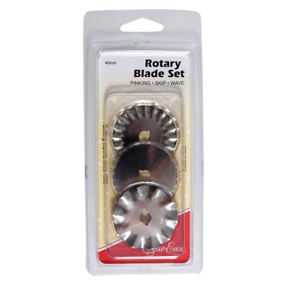 Sew Easy Rotary Blade Set: Pinking, Skip and Wave Blades: 45mm - FREE UK P&P