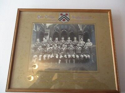 Oxford - New College Rugby Xv 1950-51 - Inter College Cup Finals - Framed Photo