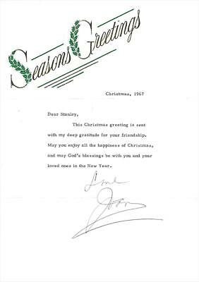 Joan Crawford- Signed Christmas Grettings TLS from 1967