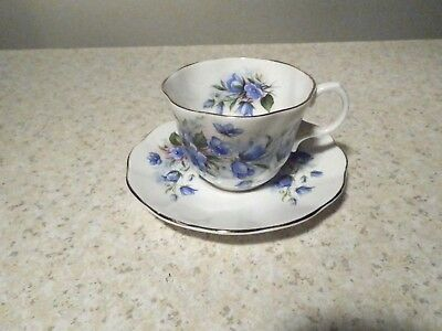 Rosina Bone China England Cup And Saucer With Blue Flowers