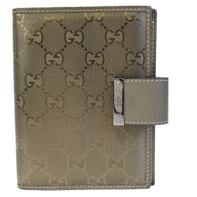 Auth GUCCI GG Pattern Imprime Agenda Day Planner Coating Leather Khaki 01EF474
