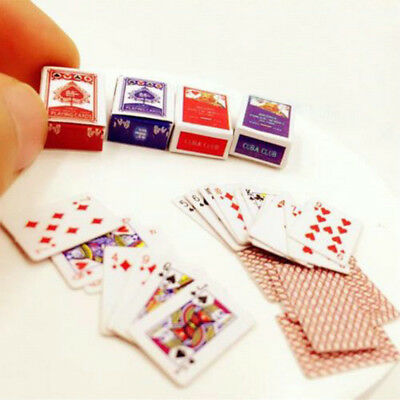 Miniature Poker Set Mini 1:12 Dollhouse Playing Cards Cute Doll House Decor