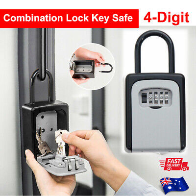 4-Digit Combination Lock Key Safe Storage Box Padlock Security Home Outdoor