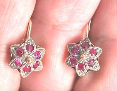 A Lovely Pair Of Antique Russian 14K Gold And Silver Earrings Set With 12 Rubies