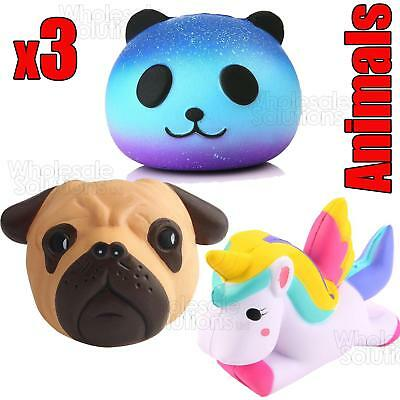 3x Slow Rising Animal Squishies Squishy Toy - Stress Reliever Aid - Mobile Gift