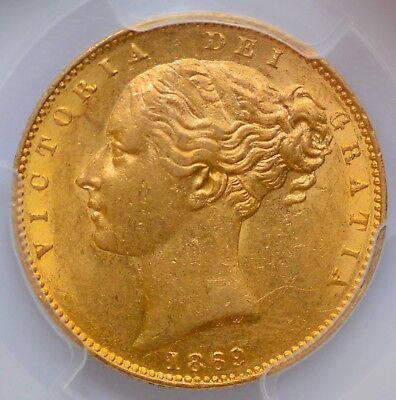 PCGS AU-58 1869 Queen Victoria Gold Shield Sovereign - Die 11 - From 1996 DOURO