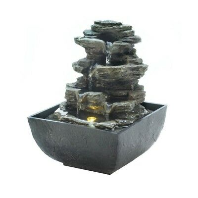 Tiered rock formation w led light indoor tabletop water fountain tiered rock formation w led light indoor tabletop water fountain electric workwithnaturefo