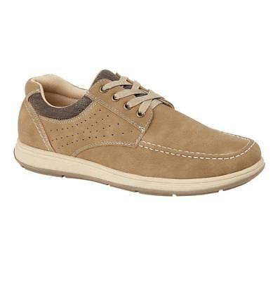 New Mens Lace Up Casual Comfort Walking Biege Charles Southwell Shoes Sizes UK