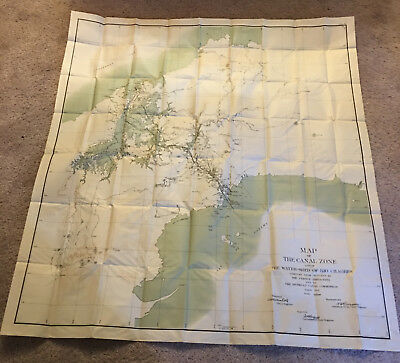 1912 Large Panama Canal Map of Canal Zone and The Water-Shed of Rio Chagres