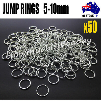 50x Jump Rings Split Close Unsoldered Brass, Silver Color 5mm 6mm 7mm 8mm 10mm