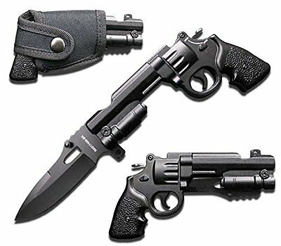 NEW Tactical Black Pistol Revolver Gun Folding Pocket Knife with Holster Folding