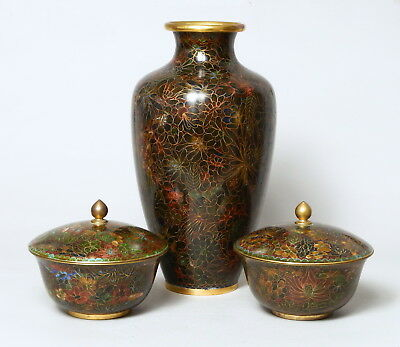 Very Attractive Vintage Chinese Bronze Cloisonne Vase & Matching Covered Bowls