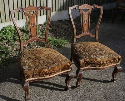 Good Quality Pair Of Fine Victorian  Rosewood  Nursing /low/ Bedroom Chairs