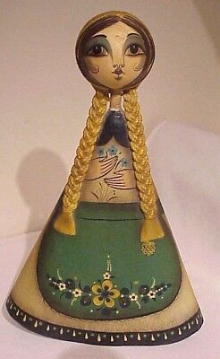 Vintage  Mexico Mexican Folk Art Paper Mache' Big Eyed Doll Statue