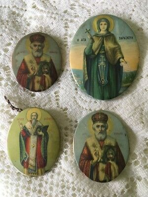 3 Antique Greek Orthodox Mini Button Enamel Tin Wall Christian Icon Virgin Mary
