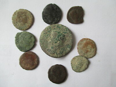 9 X  Geniune Ancient Roman Bronze Coins Worn Unidentified And Unresearched