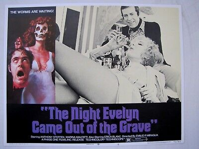 NIGHT EVELYN CAME OUT OF THE GRAVE Giallo Horror 1972 LOBBY CARD MOVIE POSTER