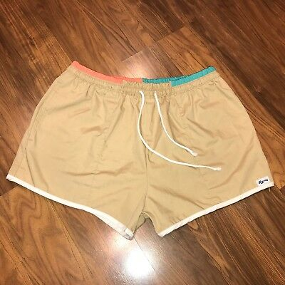 Vtg 70s 80s Mens LARGE Tan LAGUNA Running Track shorts Swim Trunks 36 38 RETRO