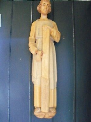 Vintage wooden hand carved Joseph the carpenter and Mary statue figurine