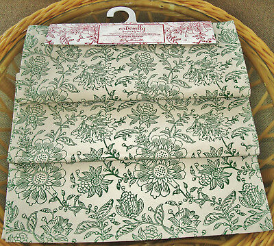 April Cornell Canvas Table Runner 17x90 Naturaly Beautiful Green Cream Fl