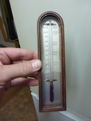 19th CENTURY  BAROMETER THERMOMETER & ARCH BOX (C)